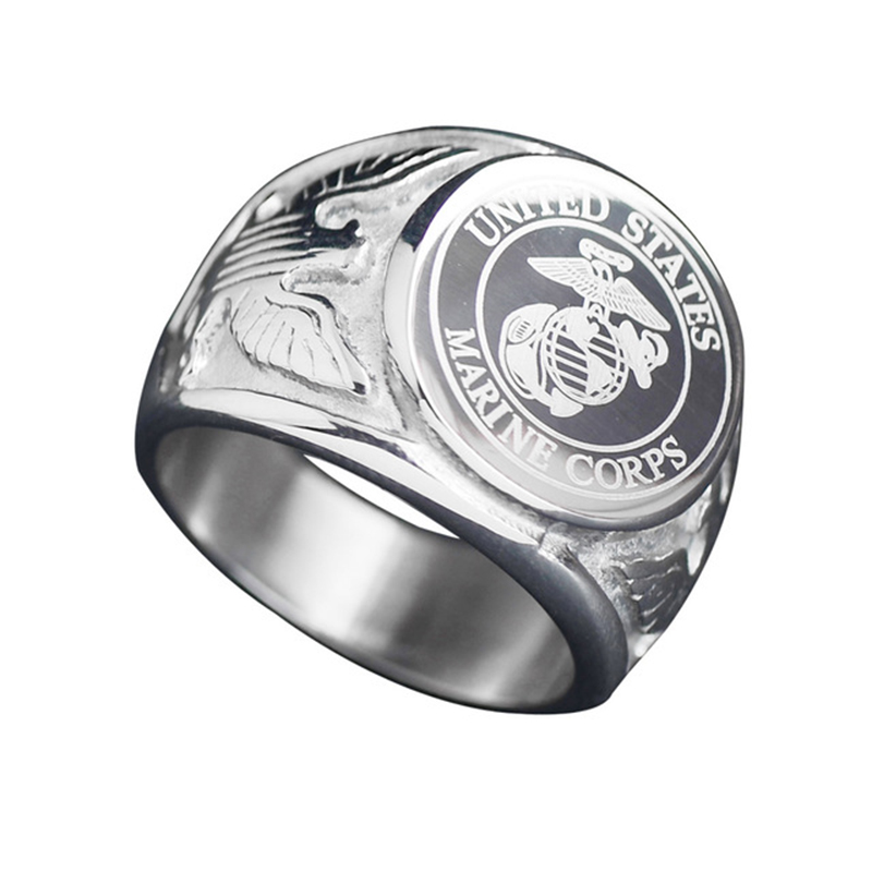 European and American soldiers badge Eagle ring men's ring Personality domineering titanium steel ring tide men's jewelry цена