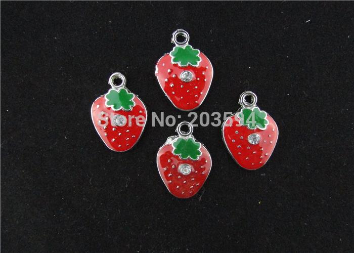 AE206 100Pcs Mixed Enamel Strawberry Charms Pendants Pet Charm for Necklace Charm 28x24mm