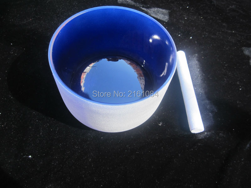8 Indigo Color A#  Third Eye Chakra Frosted Quartz Crystal Singing Bowl with free suede and o ring 8 indigo color a third eye chakra frosted quartz crystal singing bowl with free suede and o ring