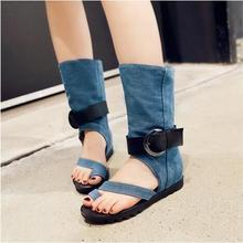 Women flat heel thong sandals Summer blue denim jeans boots ladies thick heel sandals novelty design light blue dark blue sandal
