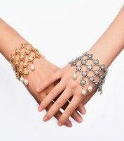 XR-041 Oro Color de piedra pulsera auxiliar, pulsera de la mano, pulsera esclava, bolas pulsera auxiliar
