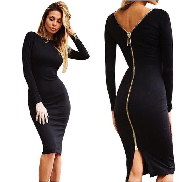 Vestido negro cremallera