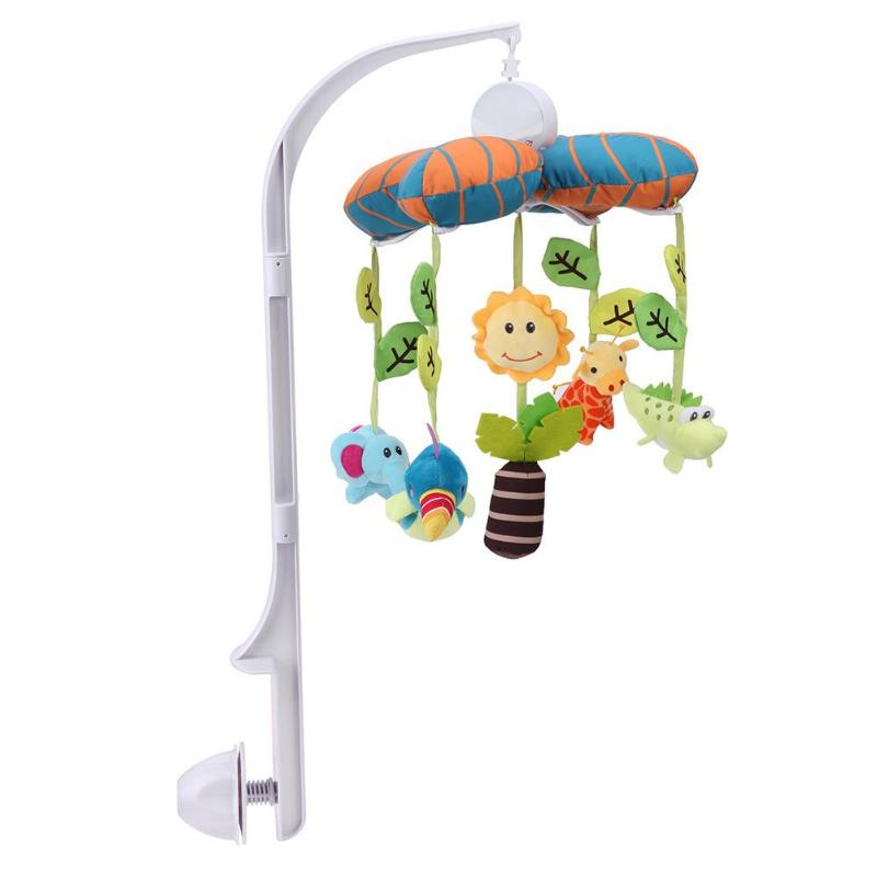 Infant Toys Plush Bed Wind Chimes Crib Hanging Bells Mechanical Music Box Mobile Bed Bell Toy Holder bed cradle musical carousel mobile bed bell support arm cradle music box with rope automatic carillon music box without toys