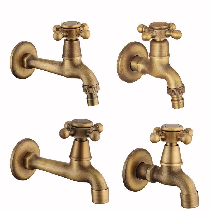 Antique bronze robinet Long jardin grue laiton Antique salle de bain vadrouille évier robinets montage mural lave-linge robinets d'eau jardin