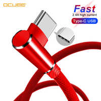Cable Tipo C para Xiaomi Red mi Note 8 Pro mi 9t A3 7 Samsung A50 A70 Honor 9x Tipo C Cable de carga rápida 90 grados cargador de teléfono