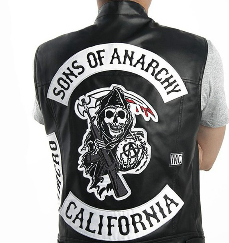 Sons Of Anarchy Harley Motorcycle Vest Tops Jacket Exquisite Quality Embroidery Leather Vest Punk Vest Cosplay Costume