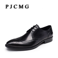 PJCMG New Fashion Black Red Handmade Genuine Leather Lace Up Carved Pointed Toe Business Dress Men
