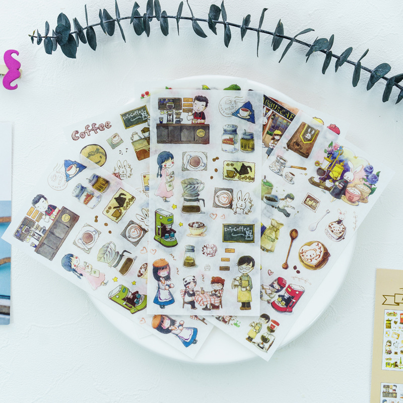 Y05 6 Sheets /Pack Coffee Time Decorative Stickers DIY Craft Scrapbooking Sticker Album Notebook Decor Stick Label