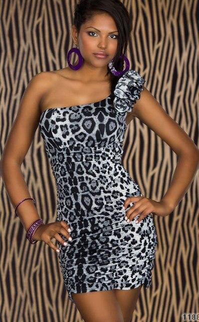 M XXL Plus Size 2014 New Fashion Women One Shoulder Sexy Leopard Print Dresses 4139