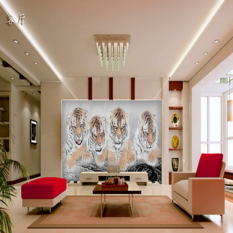 Custom 3d wallpaper 3D stereo wallpaper Cute four tigers living room bedroom wallpaper lobby studio office mural-in Wallpapers from Home Improvement on ...