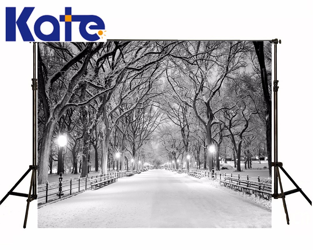 Kate Frozen Snow Photography Backdrops White Winter Tree Photo Background Country Road For Wedding Studio Backdrop  kate photography backdrop winter snow tree castle scenery photography background lighting spot dream backdrops studio