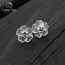 LOTUS FUN Handmade Flower Stud Earrings Creative Crystal Earrings for Women & Girls Sterling Silver Jewelry 100% 925 Hot Earring