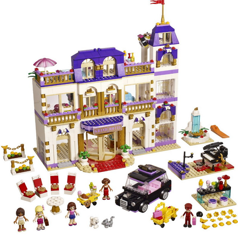 цена 10547 BELA Friends Series Heartlake Grand Hotel Model Building Blocks Enlighten DIY Figure Toys For Children Compatible Legoe