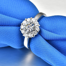 0.5ct Round Flower Ring 5A High Quality Sona CZ Engagement Rings for Women Females S925 Sterling Sliver Wedding Jewelry