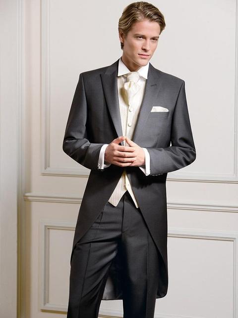 Morning Style Grey Groom Tuxedos Groomsmen Men\'s Wedding Prom Suits ...