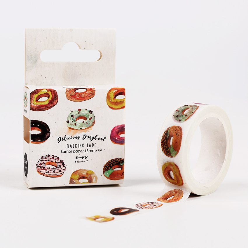 15mm X 7m Japan Kawaii Donut Food Paper Washi Tape DIY Scrapbooking Masking Decorative Tape School Office Supply