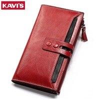 KAVIS Wallet Female Genuine Leather Women Purse Clutch Coin Purse Long Walet Portomonee Clamp For Money
