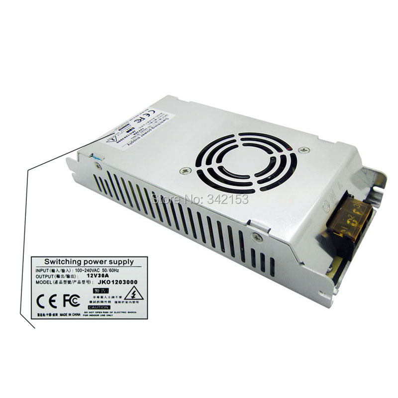 ФОТО Universal AC DC Led Power Supply 12V 30A 360W Regulated Switching Power Supply Lighting Transformers