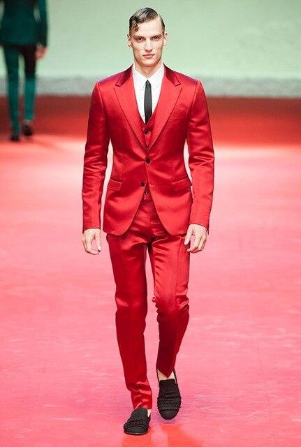 Mode hommes beau costume rouge 3 pièces personnalisé hommes nouvelle robe robe scène danse travail costume décontracté (manteau + pantalon + gilet)