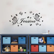 Butterflies Girls Room Wall Sticker Personalized Any Name Vinyl Decals For Kids Bedroom Art Decoration Y-582