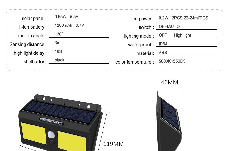 Outdoor LED Solar Light Waterproof Decoration Motion Sensor Solar Lights for Garden ABS COB Outdoor Solar Lighting Wall Street (3)