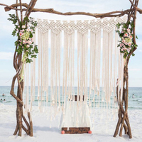 1.35*1.15M Boho Wedding Backdrop Party Photo Booth Macrame Cotton Rope Tassel Curtain for Home Room Wall Hanging Decoration