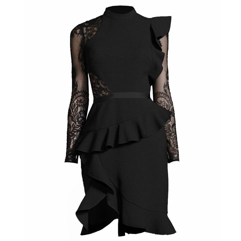 Sheer Dress Noche Partido Pie De Sexy Negro Mujeres Libre Asimétrico Mujer 2018 Larga Ruffle Vestido Envío Del Lace Manga Collar dq7aZF