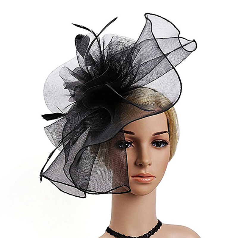 95d4f3b0 FGHGF High quality Women Mesh Feather Fascinator Hats Ladies Kenucky ...