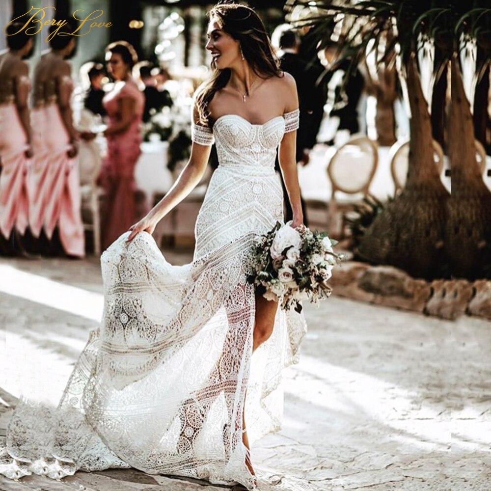Sexy Boho plage douce dentelle blanche sirène robe de mariée 2019 chérie longue robe de mariée hawaïenne robe de mariée d'été