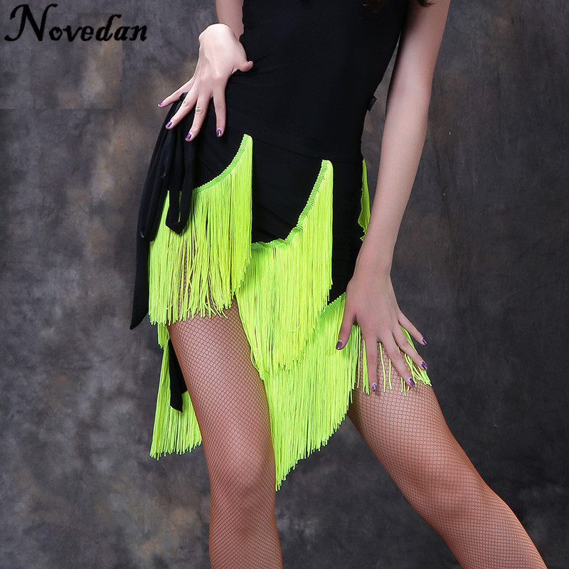Professional Latin Dance Skirt Women Black Competition Practice Ballroom Tango Skirt Tassel Fringe Latin Salsa Dance Skirt