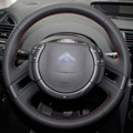 Hand-stitched Black Leather Steering Wheel Cover for Citroen C4 Picasso 2012-2014 C-quatre