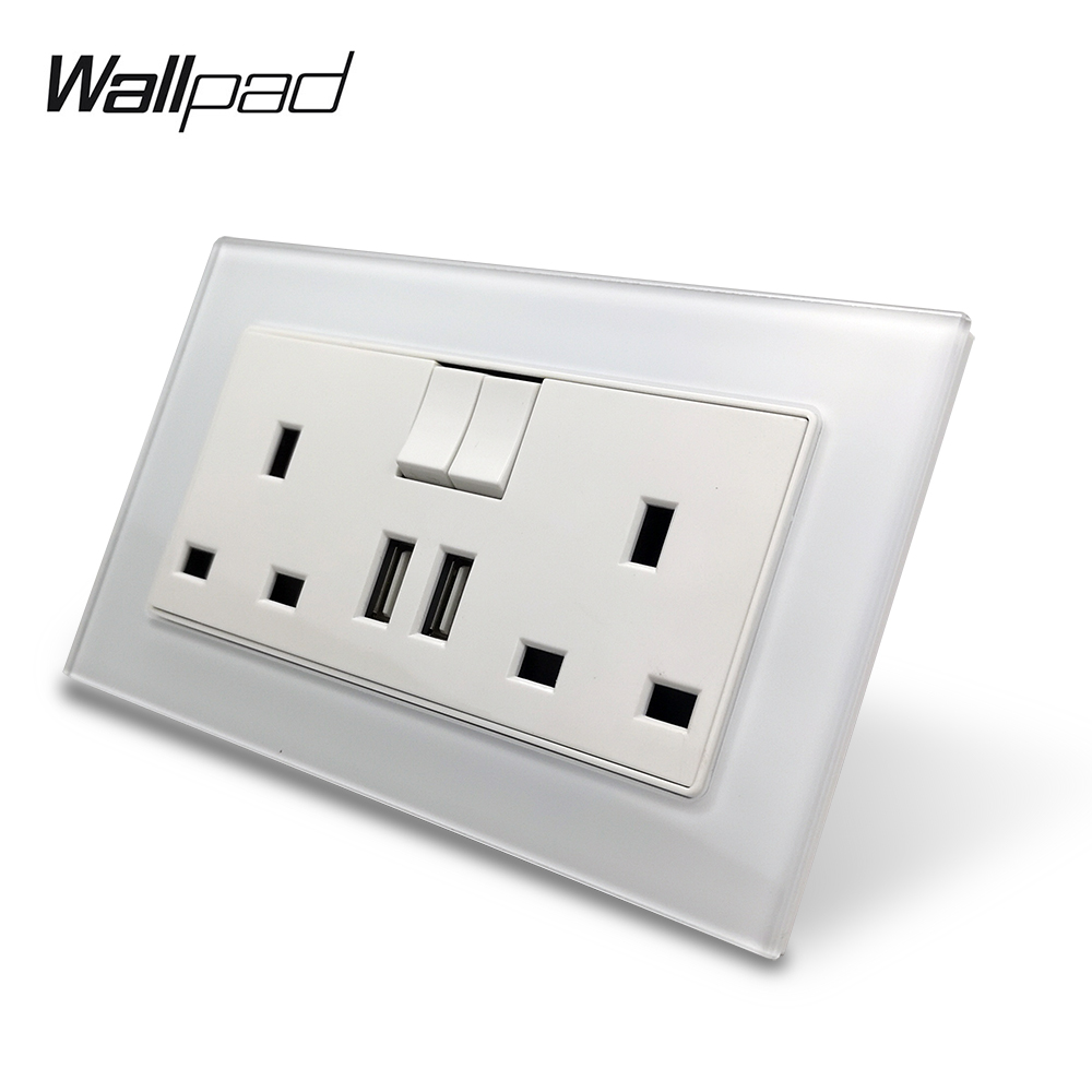 S7 White Black Double 13A UK BS Wall Power Socket with 2.1A Double USB Charging Ports, Tempered Glass Panel