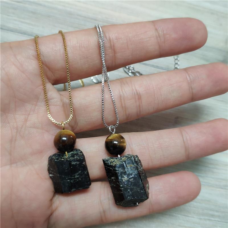 Natural Black Tourmaline Stone Chakra Powerful Calm Energy Healing Stone Pendant Gold Silver Dainty Chain 18inch Choker Necklace