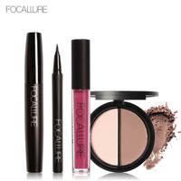 FOCALLURE New 4Pcs Easy Lip Makeup Black Eyeliner Pencil Matte Liquid Lipstick Face Bronzer Highlighter Palette