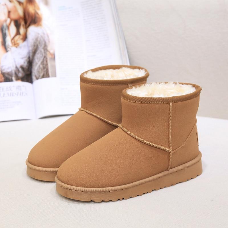 Snow Boots Winter Brand Autumn Large Brown Vintage Luxury Genuine Leather Australia Waterproof Sheepskin Slip on Footwear Woman 2016 australia genuine sheepskin leather
