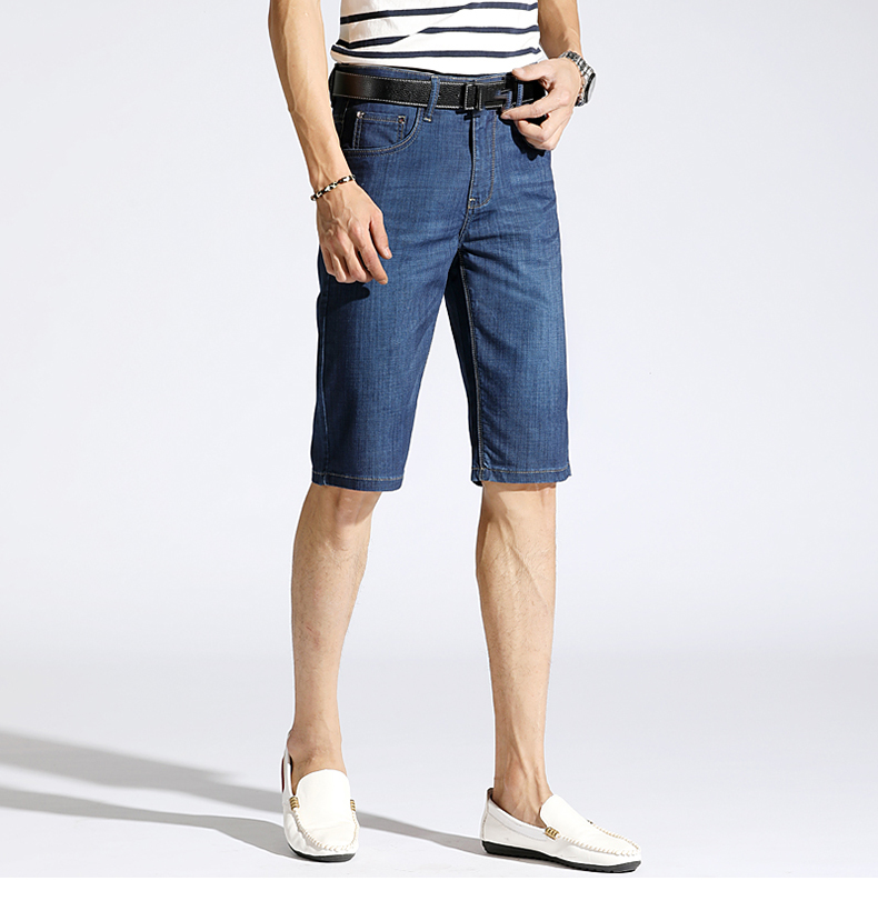 KSTUN Summer Denim Shorts Jeans Men Blue Slim Straight Business Casual Knee Length Shorts High Quality Elastic Brand Clothes 38 15