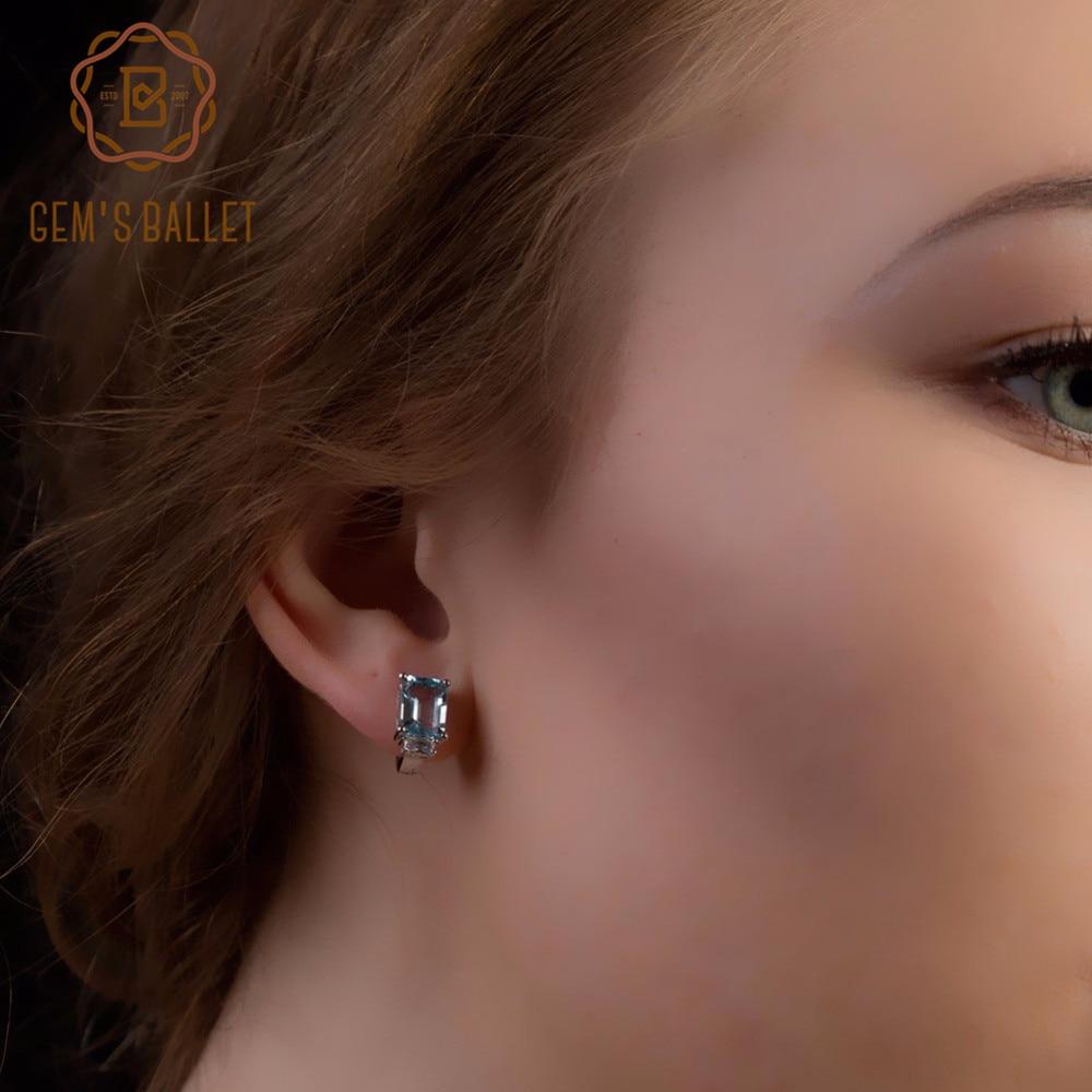 Gem's Ballet 8.46Ct Octagon Natural Sky Blue Topaz Gemstone Earrings For Women 925 Sterling Silver Classic Earrings Fine Jewelry