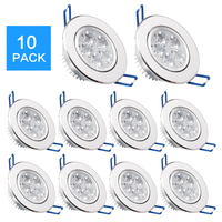 10 pack/lots ePacket 7 25 Day Arrive LED Spot LED Downlight Dimmable Bright Recessed decoration Ceiling Lamp 110V 220V AC85 265V