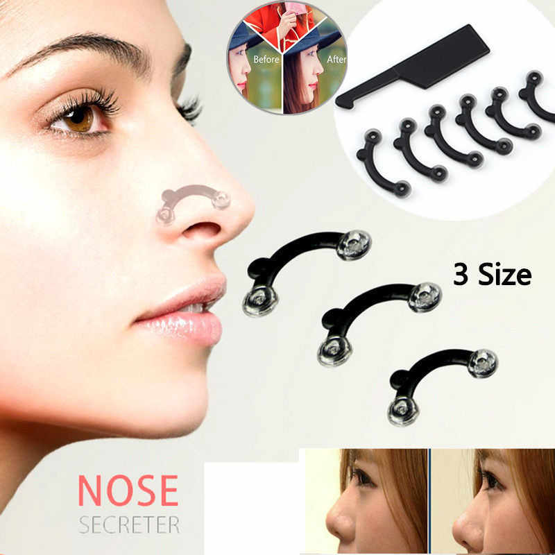 6PCS/Set 3 Sizes Beauty Nose Up Lifting Bridge Nose Shaper Massage Tool No Pain Nose Shaping Clip Clipper Beauty Tools Face Lift