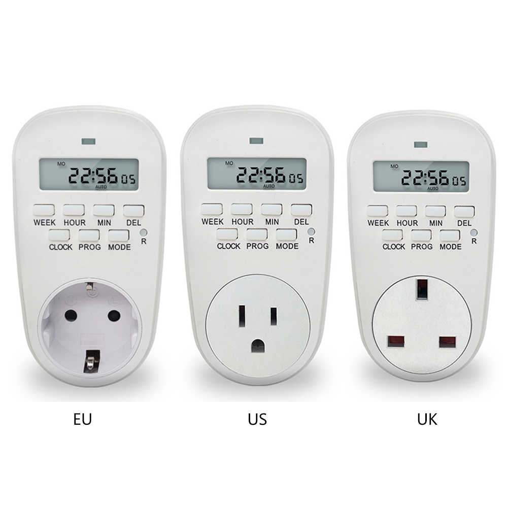 EU /US/ UK Plug Smart Power Socket Digital Timer Switch Energy Saving Adjustable Programmable Setting of Clock/ On/ Off Time smart 30s timer delay switch us