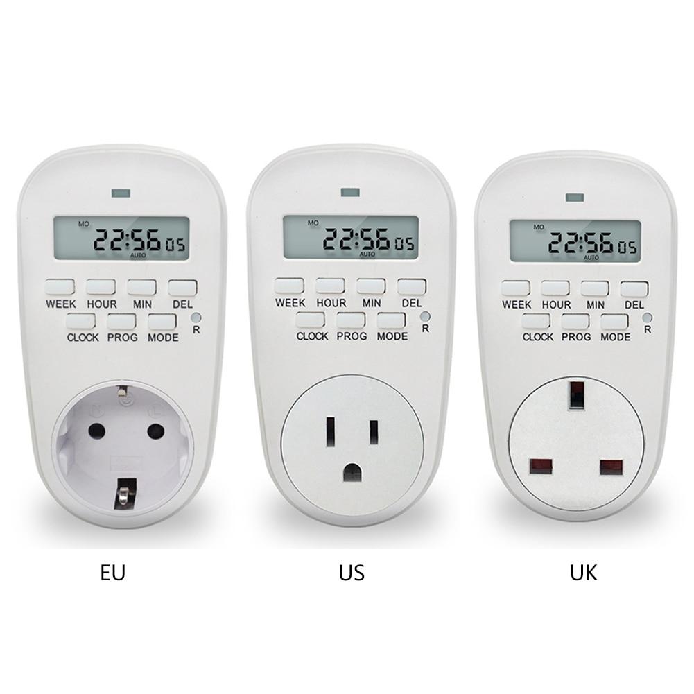 EU /US/ UK Plug Smart Power Socket Digital Timer Switch Energy Saving Adjustable Programmable Setting of Clock/ On/ Off Time