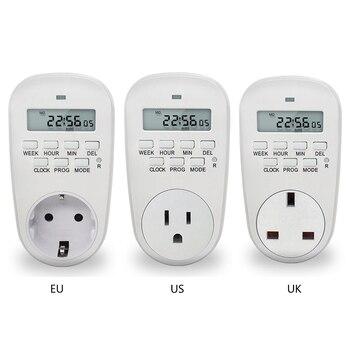 UE/EUA/UK Plug Soquete de Energia Inteligente Digital Programável Interruptor Do Temporizador de Poupança de Energia Ajustável Ajuste de Relógio/On/Off Tempo