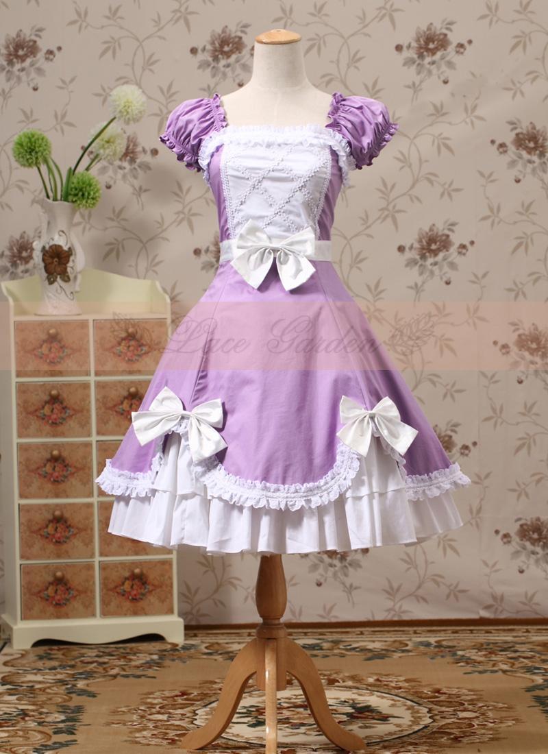 Robe Lolita classique en coton imprimé à manches courtes japonaises