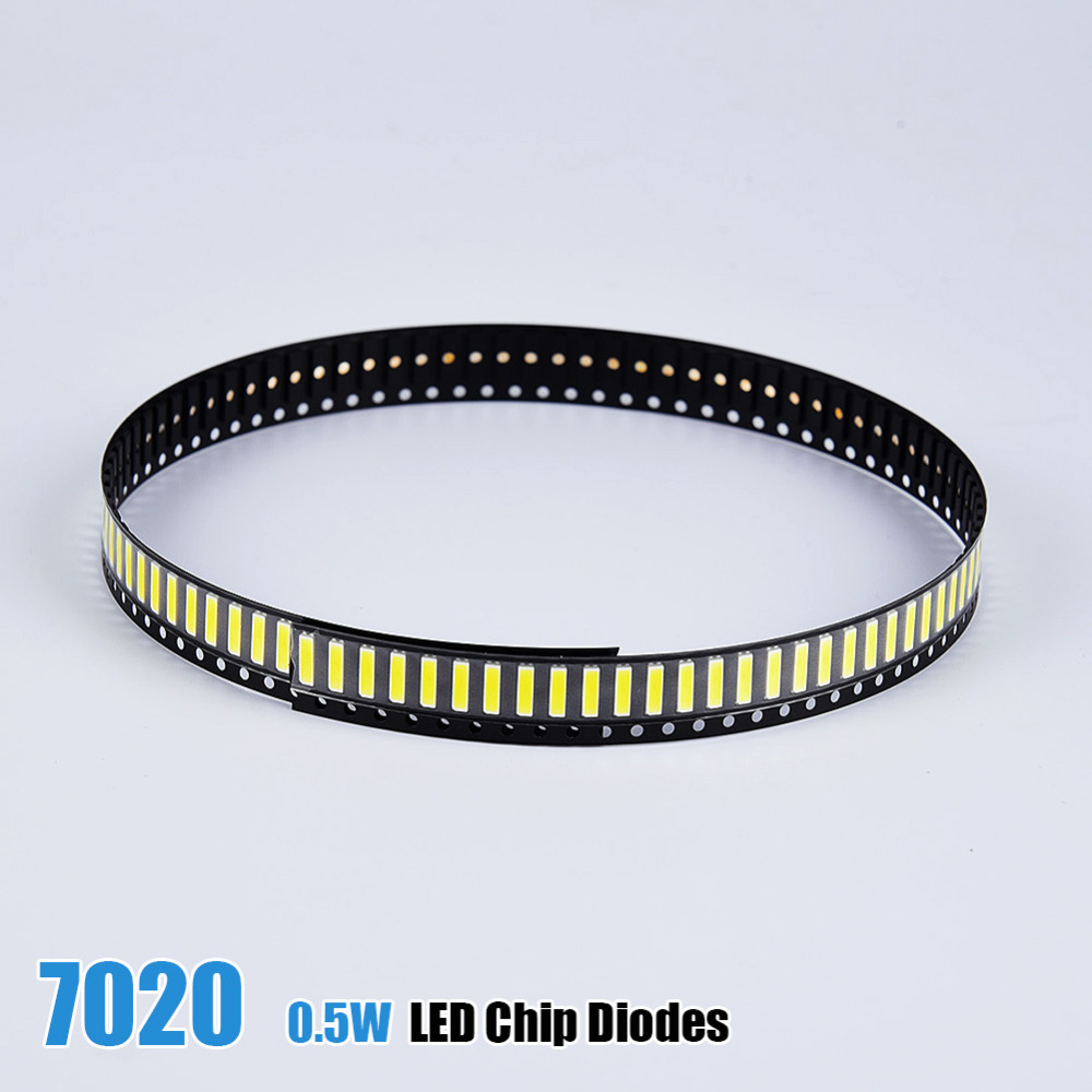100pcs/lot SMD <font><b>7020</b></font> 0.5W Bright <font><b>LED</b></font> Lamp <font><b>Diodes</b></font> 45-50lm White/Warm White SMD <font><b>LED</b></font> Beads <font><b>LED</b></font> Chip for All <font><b>LED</b></font> Lamp Light