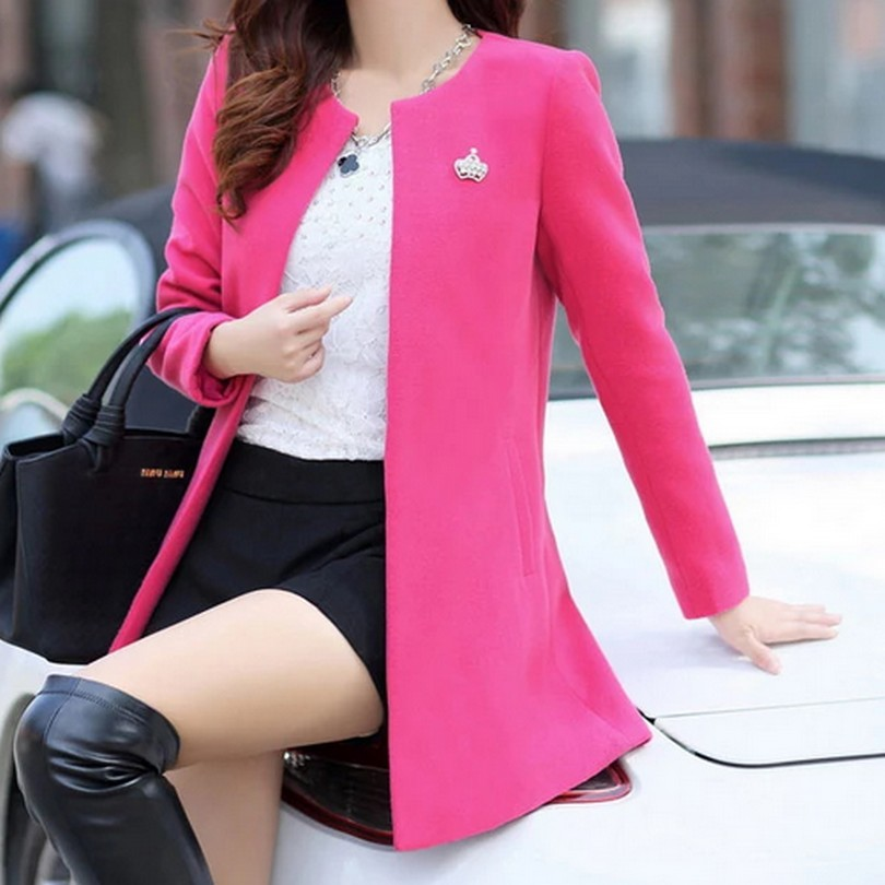 Fashion Round Neck Long Sleeve Women Coats S-XXL Solid Color Loose Cardigan Autumn Slim Thin Outerwear 1