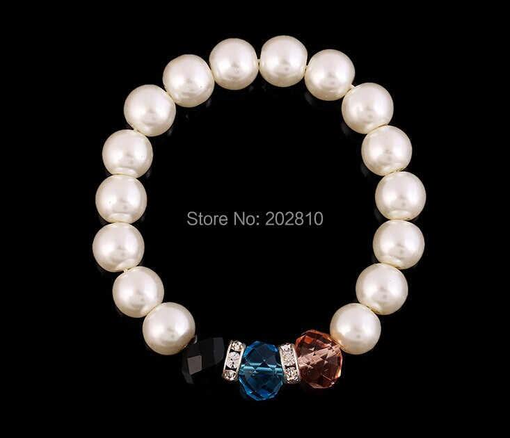 Kobiety nowy model romantyczny 10MM biały perłowy mix (różowy czarny niebieski) kryształ bransoletka z cyrkoniami i bransoletka z platerowanym srebrem dobrej jakości