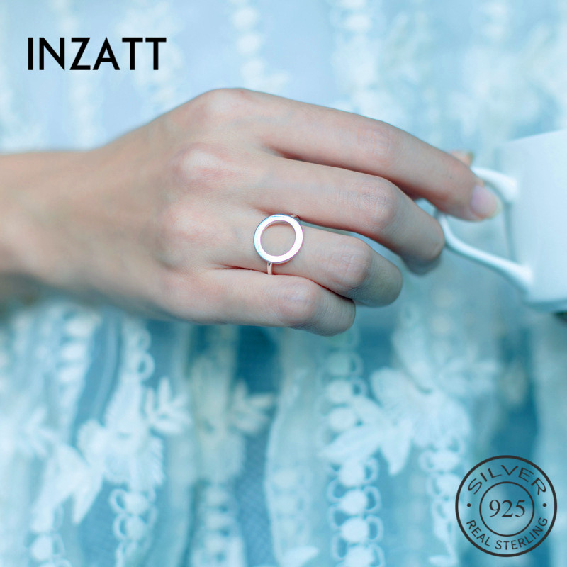 INZATT Real 925 Sterling Silver Geometric Hollow Round Adjustable Ring Minimalist Fine Jewelry For Women Party Punk Accessories