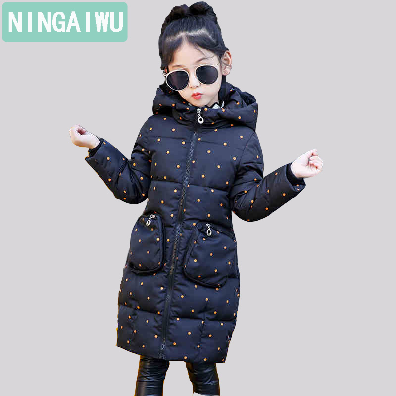 цена Girls' Cotton-Padded Outerwear Fashion Baby Girls Winter Coat Child Warm Of Thickened Down Parkas Children's Long Style Costume