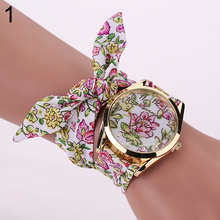2016 New Arrival Fashion Women's Geneva Flower Star Bow Wristwatch Scarf Band Party Casual Watch