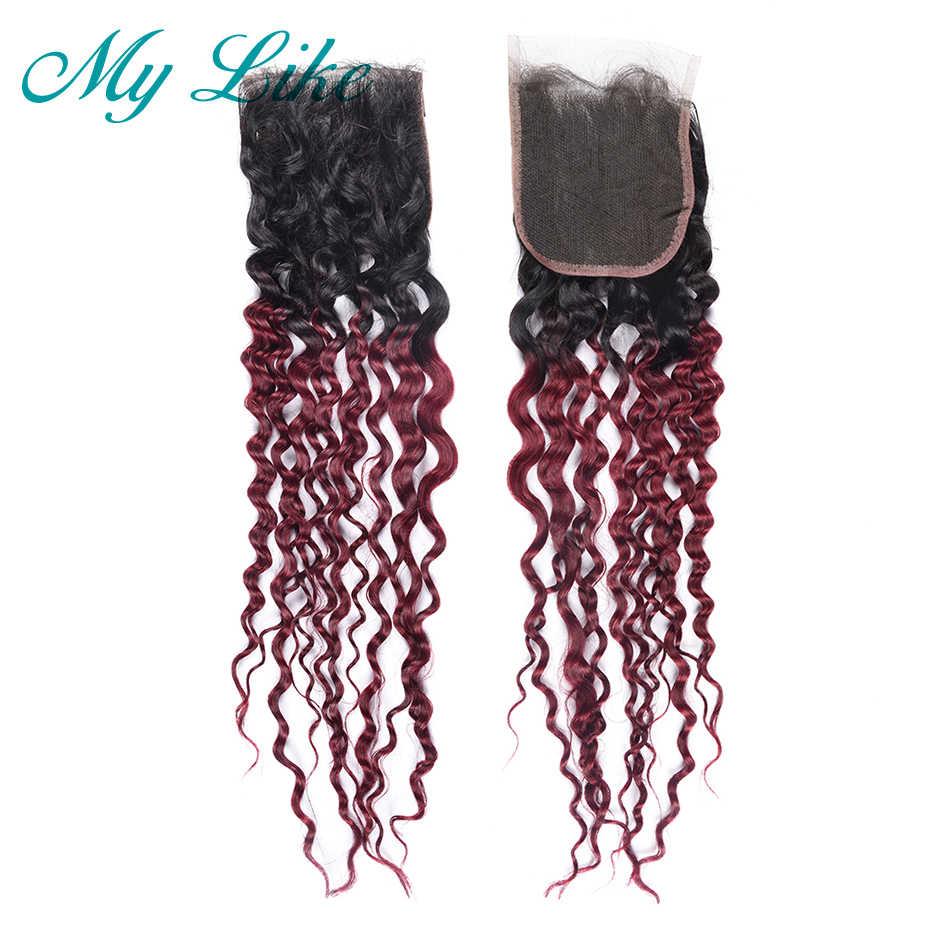 Saya Seperti Brasil Menenun Rambut Ombre Bundel dengan Penutupan 1B/99j Merah Merah Marun Air Gelombang Rambut Manusia Bundel dengan penutupan Tidak Remy